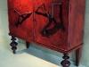 tRAMOnto rosso, recupero di uno stipo con assemblaggio di elementi in legno e carta